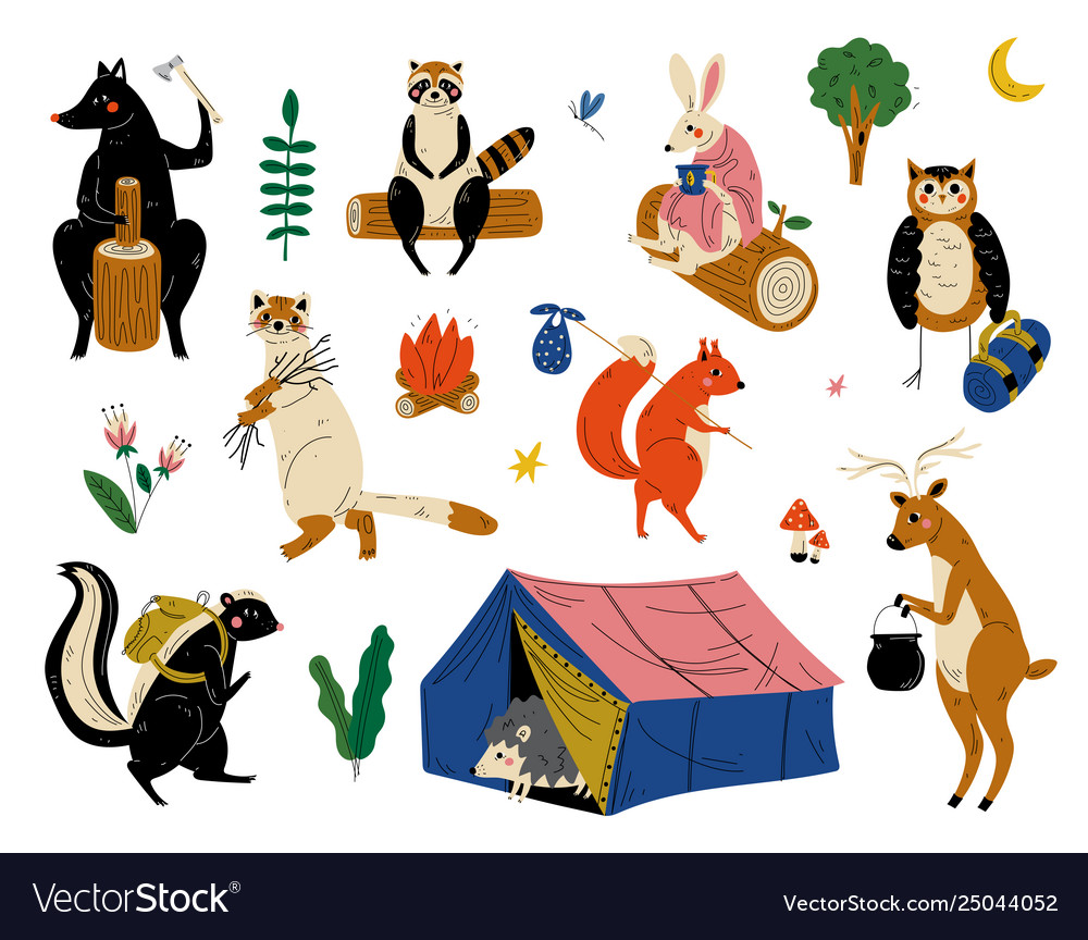 Collection animals characters having hiking.