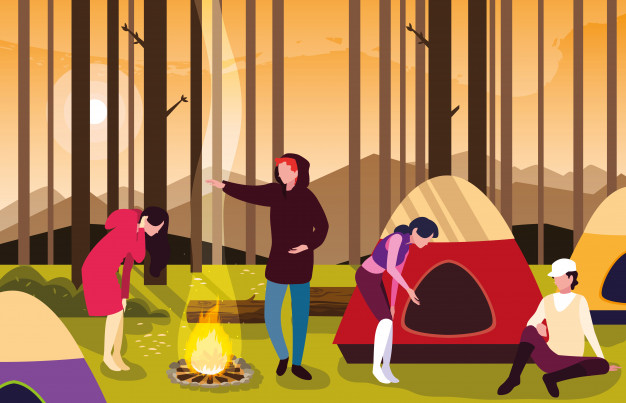 Campers in camping zone with tent and campfire sunset scene.