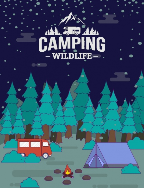 Wildlife camping banner forest tent bus campfire icons Free.