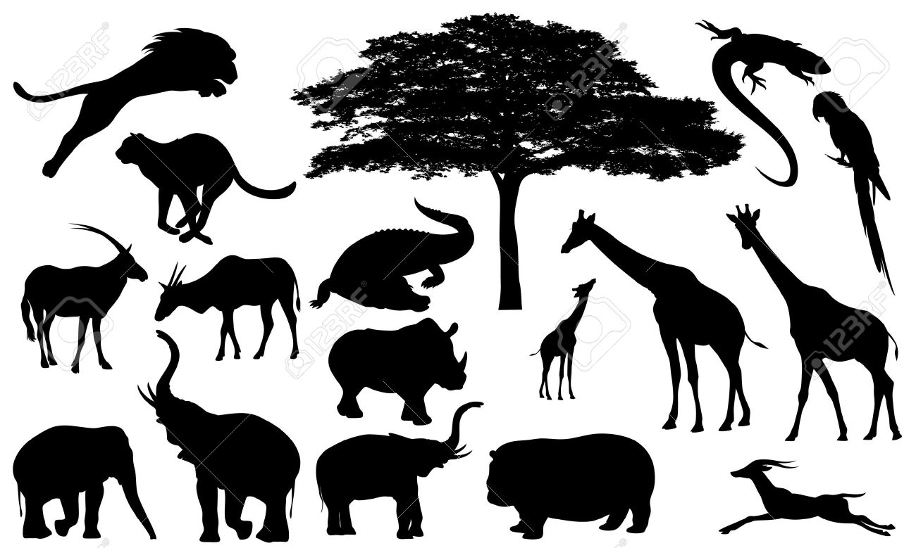 african wildlife fine vector silhouettes.
