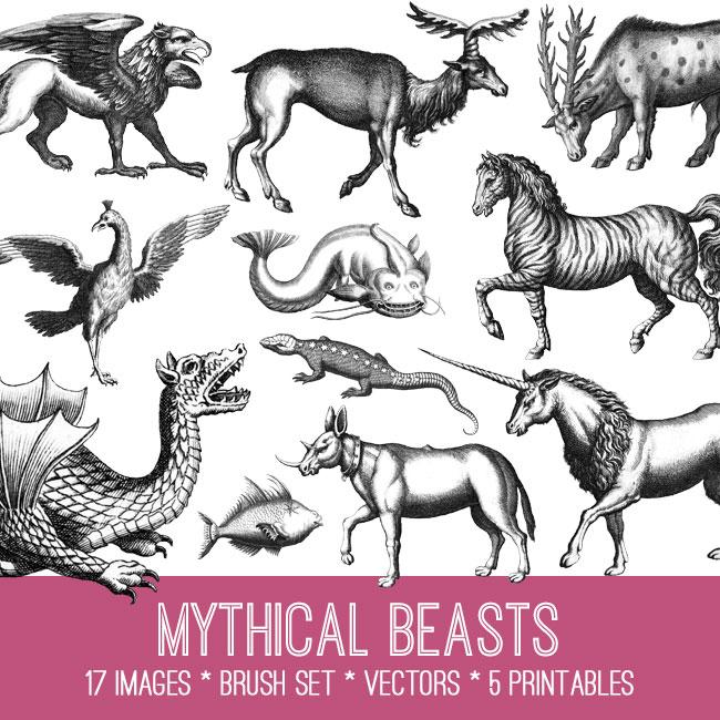 Mythical Beasts Image Kit! Graphics Fairy Premium Membership.