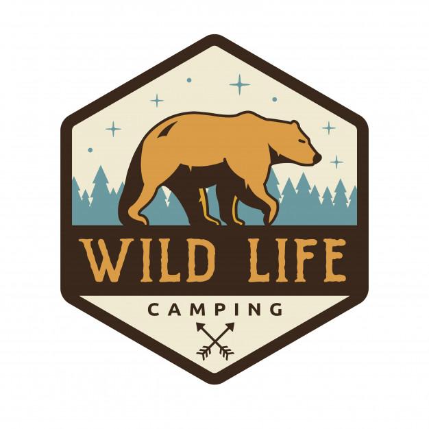 Vintage wildlife summer camp camping activities logo badge.