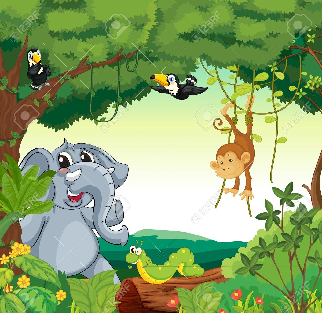 Illustration Of A Forest Scene With Different Animals Royalty Free.