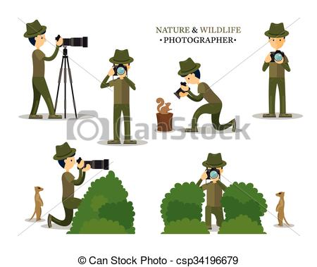 Vectors Illustration of Nature and Wildlife Photographer with.
