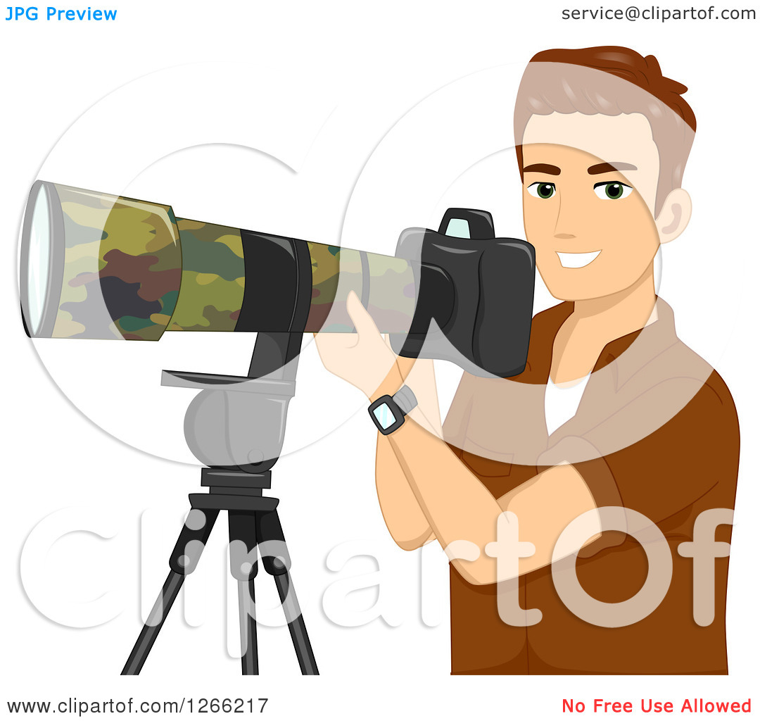 Clipart of a Young Brunette White Wildlife Photographer Man with a.