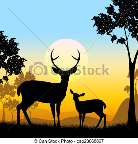 Stock Illustration of Deer Wildlife Indicates Safari Animals And.
