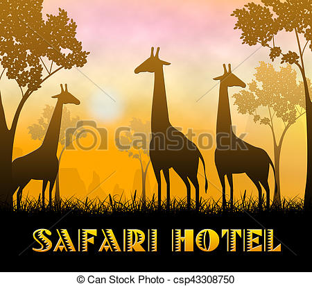 Stock Illustrations of Safari Hotel Showing Wildlife Reserve 3d.
