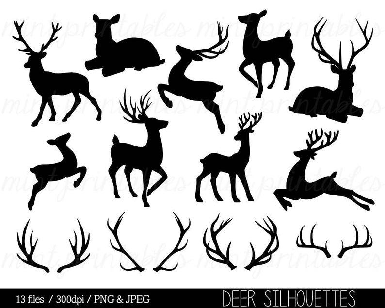 Deer Clipart, Deer silhouette Clip Art, Antler Clipart, Antler silhouettes,  Reindeer Stag Doe.