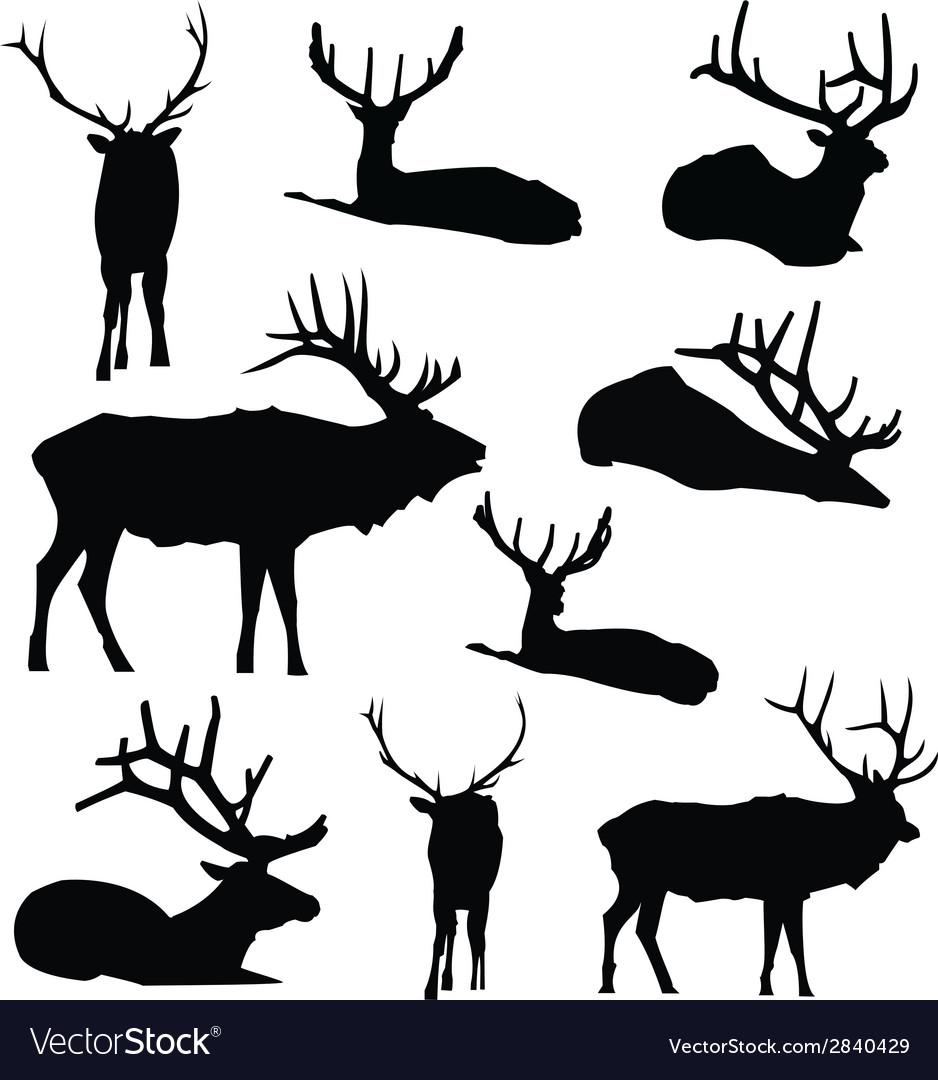 Elk Silhouette Deer Animal Digital Clip Art.