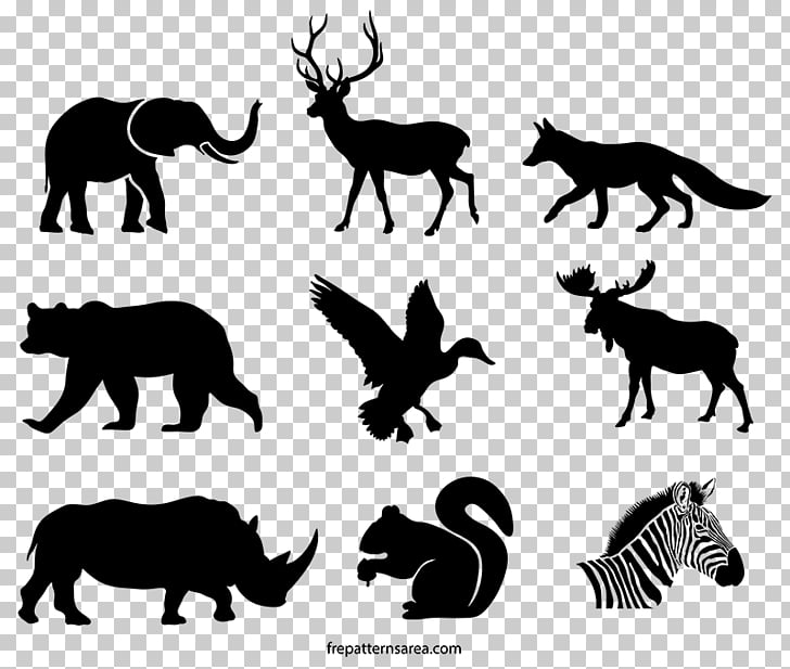 Template Stencil, animal silhouettes PNG clipart.