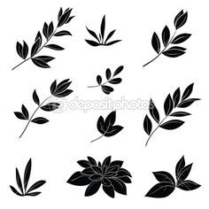 Wild Plant Silhouette Digital Clipart by SSGARDEN on Etsy.