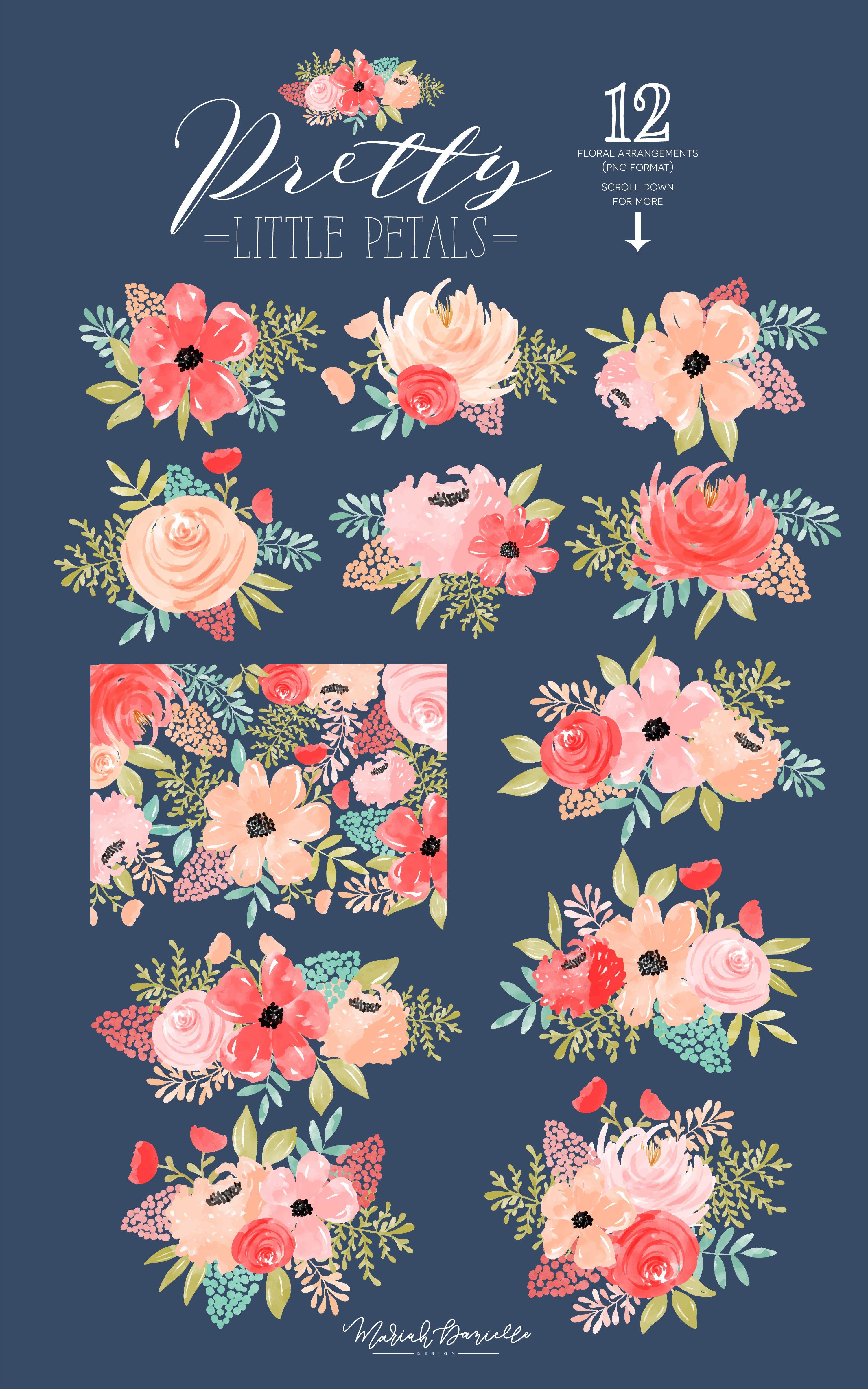 Floral Watercolor Clipart Flower Clipart Flower Bouquet Clip.