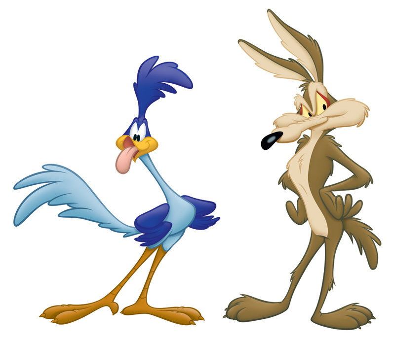 Wile E Coyote And Roadrunner Silhouette Clipart.