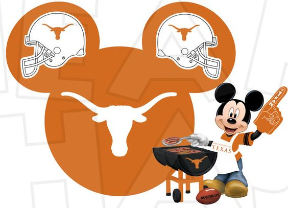 Texas Longhorns football with Mickey Mouse INSTANT DOWNLOAD.