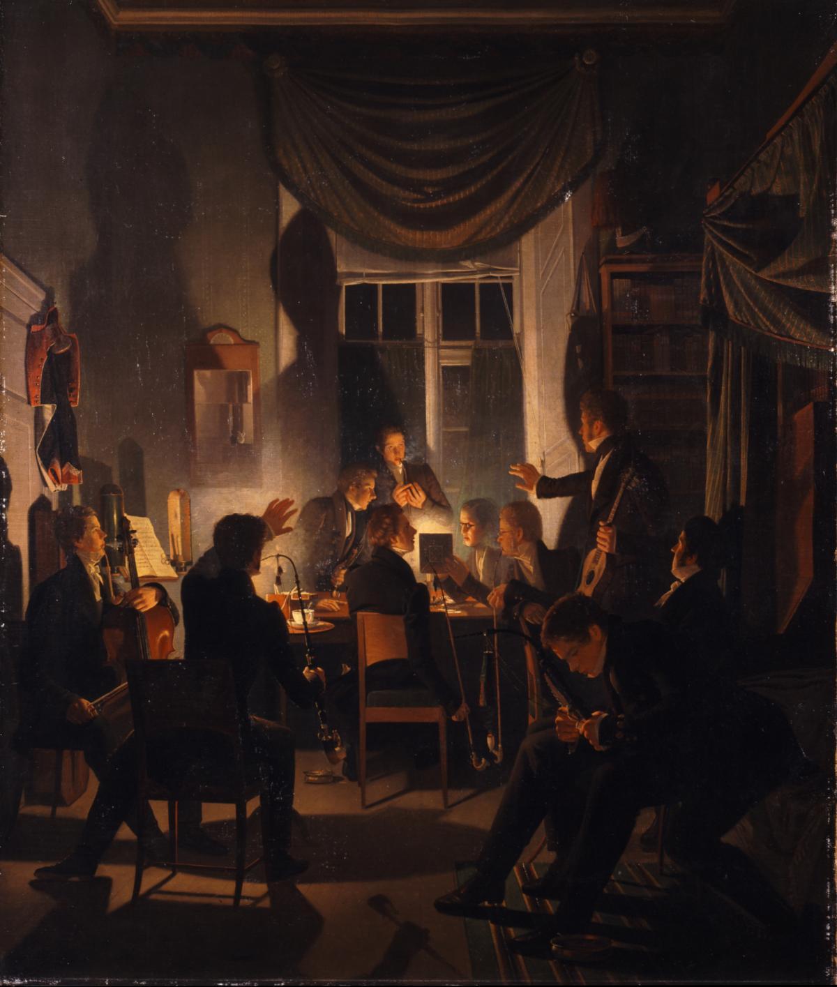 Wilhelm Bendz, A Smoking Party.