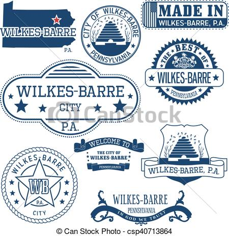 Clip Art Vector of generic stamps and signs of Wilkes.