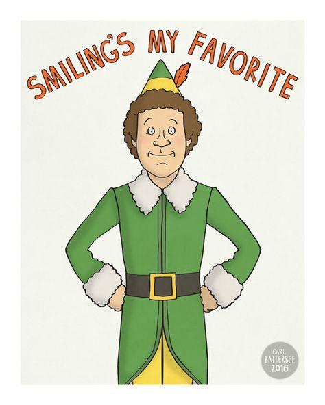 Elf Will Ferrell Illustration Print by CarlBatterbee on Etsy.