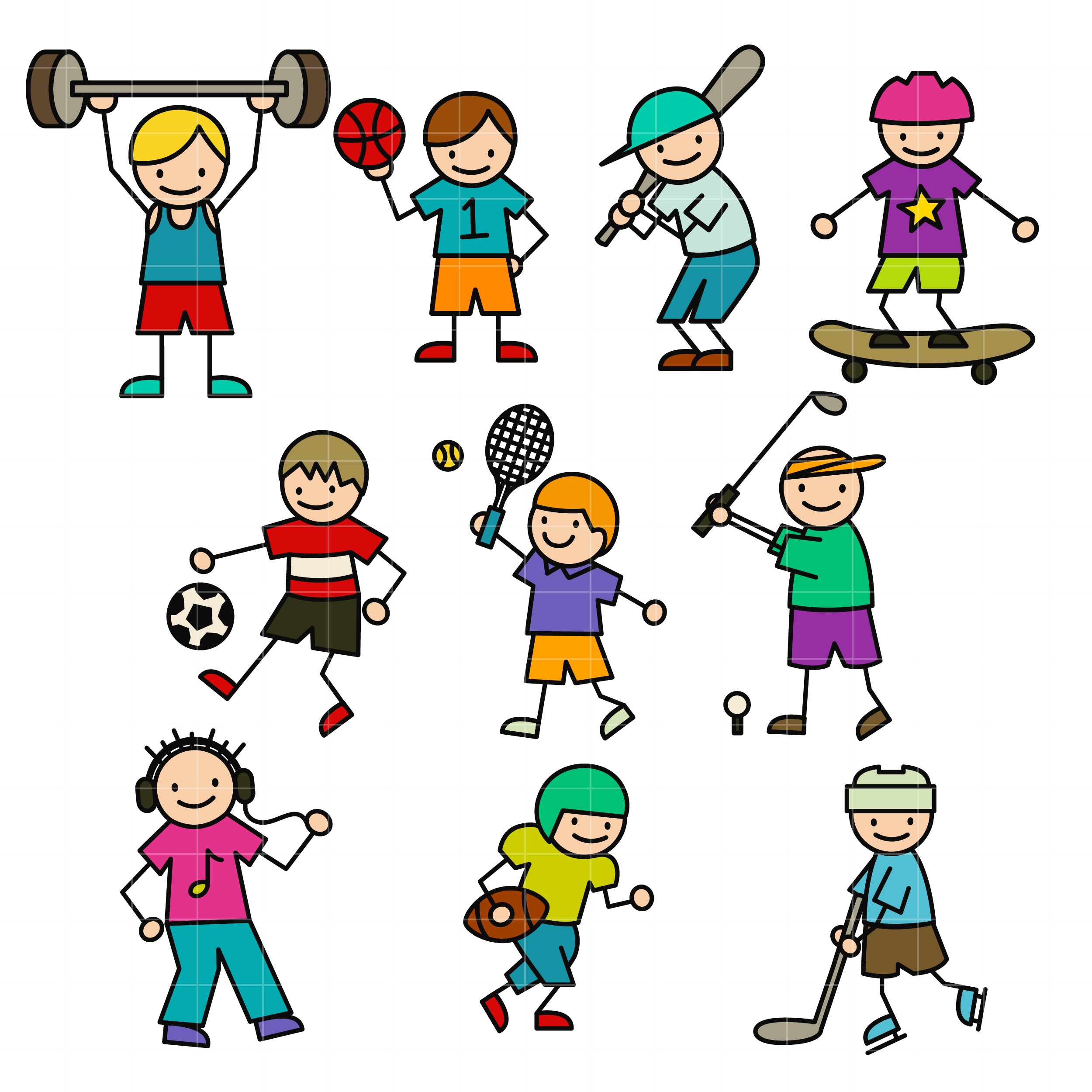 Sporty Stick Kids Set Semi Exclusive Clip Art Set For Digitizing and More.