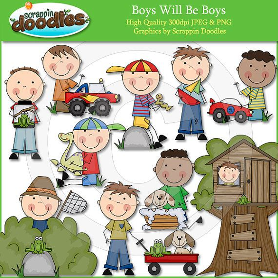 Boys Will Be Boys Clip Art by ScrappinDoodles on Etsy, $3.50.