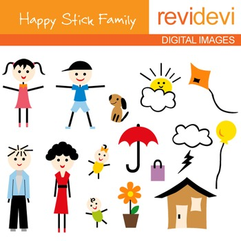 Stick family clip art: parents, kids.