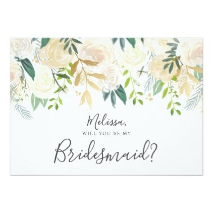 Greenery White Floral Will You Be My Bridesmaid Invitation.