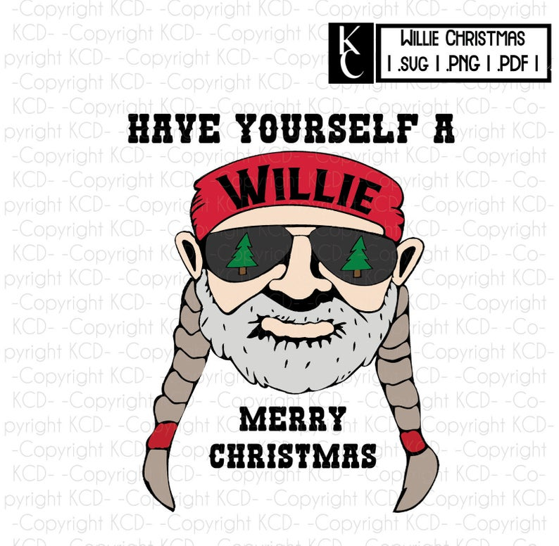 Willie Merry Christmas (png svg pdf) Willie Nelson Clipart.