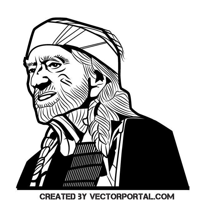 Musician Willie Nelson vector illustration in 2019.