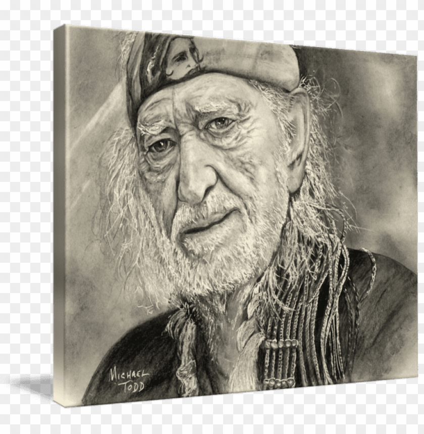 encil drawing of celebrity willie nelson face.