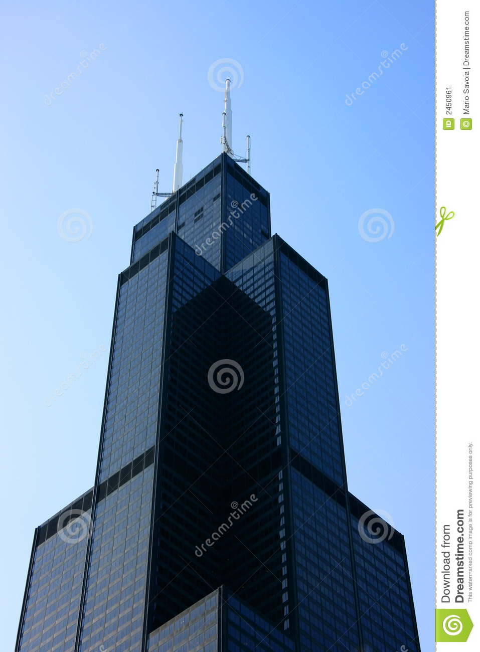 Sears Tower Top From Below Stock Image.
