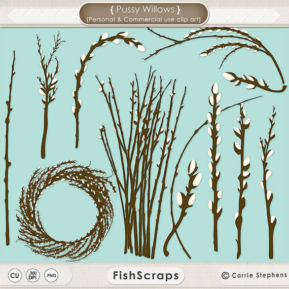 PussyWillow ClipArt, Willow Tree Branch, Wreath Digital Graphic.