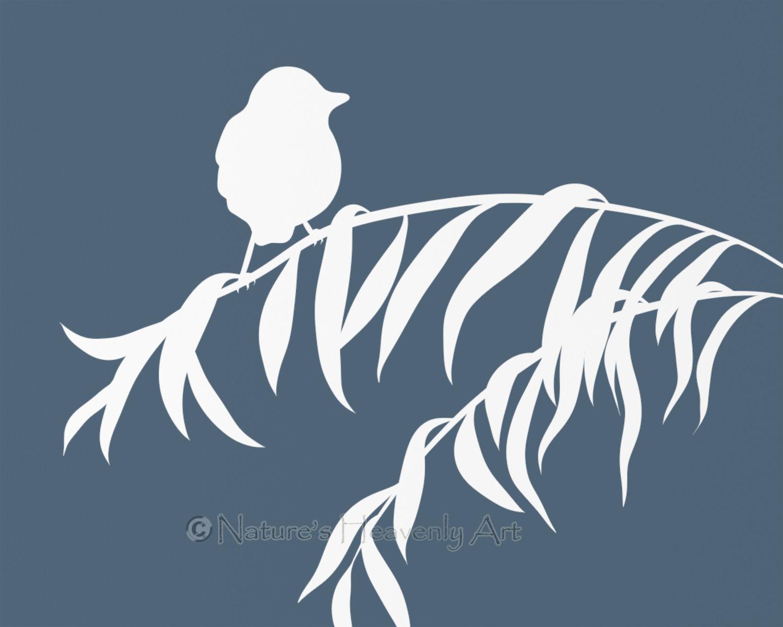Willow Tree Branch and Bird Art Print, Custom 8 x 10 Print, Blue.