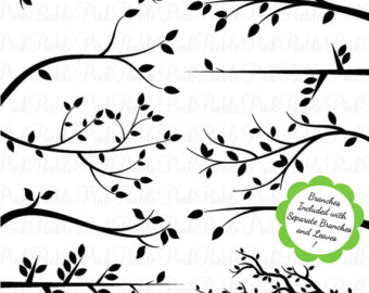 Rustic tree branches clipart.