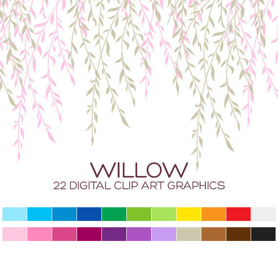 Willow Tree Clipart Tree Branch Clipart Wedding by coloryourway.