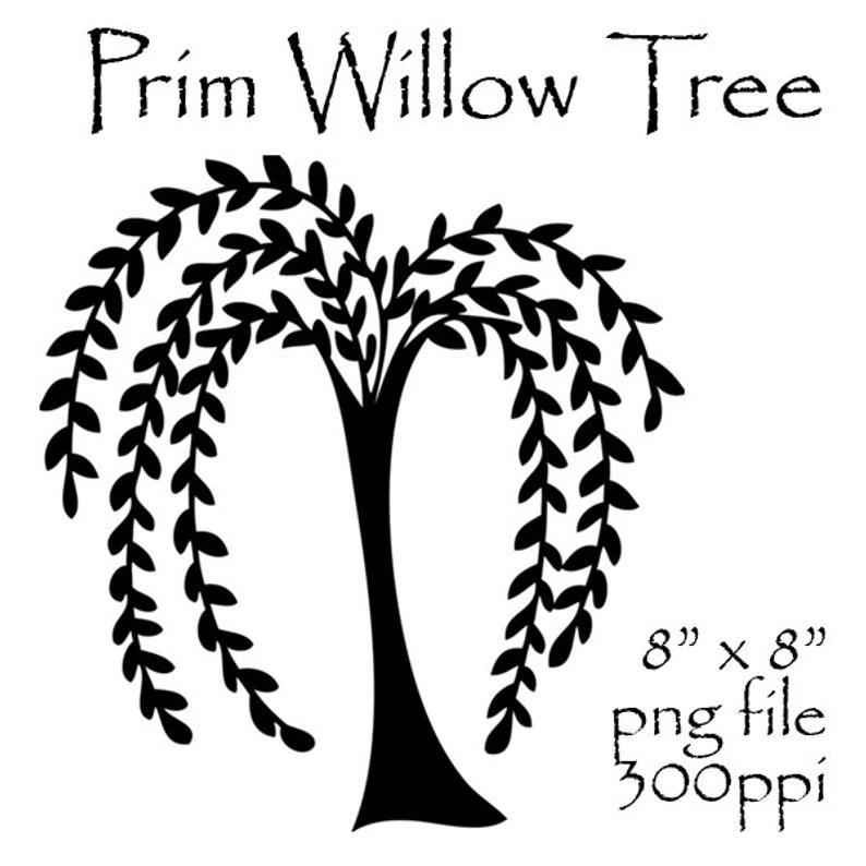 Prim Willow Tree Clipart, Primitive Willow Tree, Prim Clipart, Prim  Graphics, Primitive Art, Silhouette, Willow Tree Silhouette, Willow Tree.