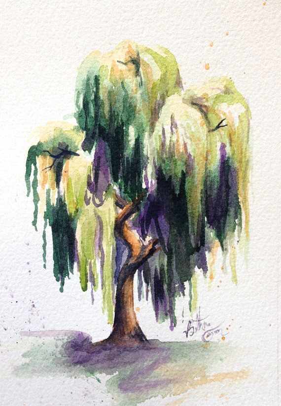 Watercolor Willow Tree by beecanbe on Etsy in 2019.