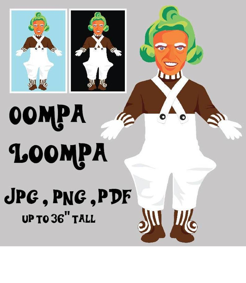 Hi Resolution Oompa Loompa Candy Maker Willy Wonka Clip art for Poster  Prints and party decor. PNG PDF and JPEG..