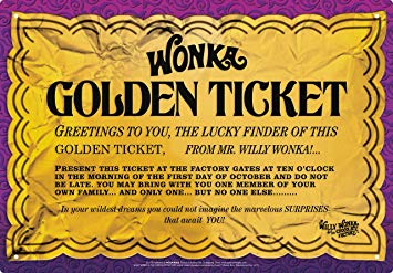 Aquarius 30179 Willy Wonka Golden Ticket Tin Sign Novelty.