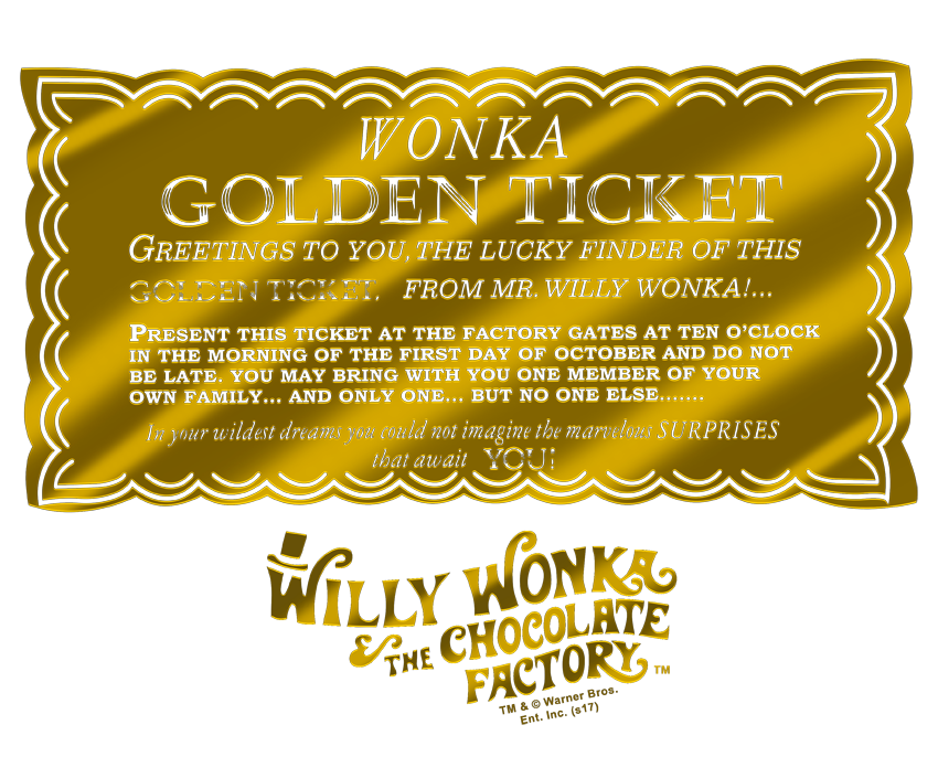 Willy Wonka & the Chocolate Factory Golden Ticket Men's Regular Fit T.