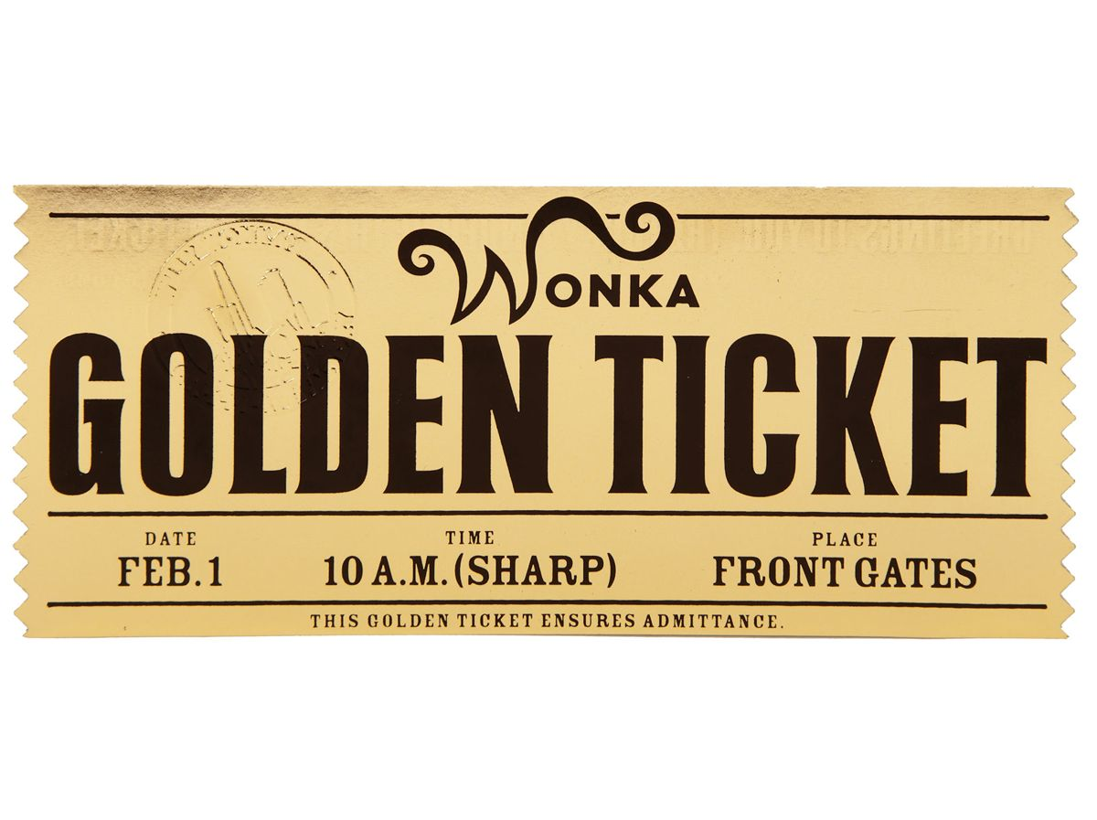 HERO WONKA GOLDEN TICKET FROM TIM BURTON'S CHARLIE AND THE CHOCOLATE  FACTORY..