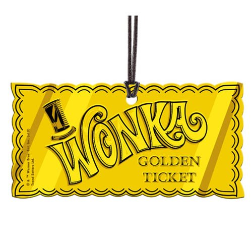 Willy Wonka and the Chocolate Factory Golden Ticket Hanging Acrylic.
