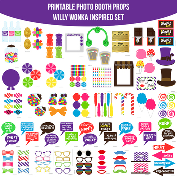 Willy Wonka Charlie and the Chocolate Factory Inspired Printable Photo  Booth Pro.