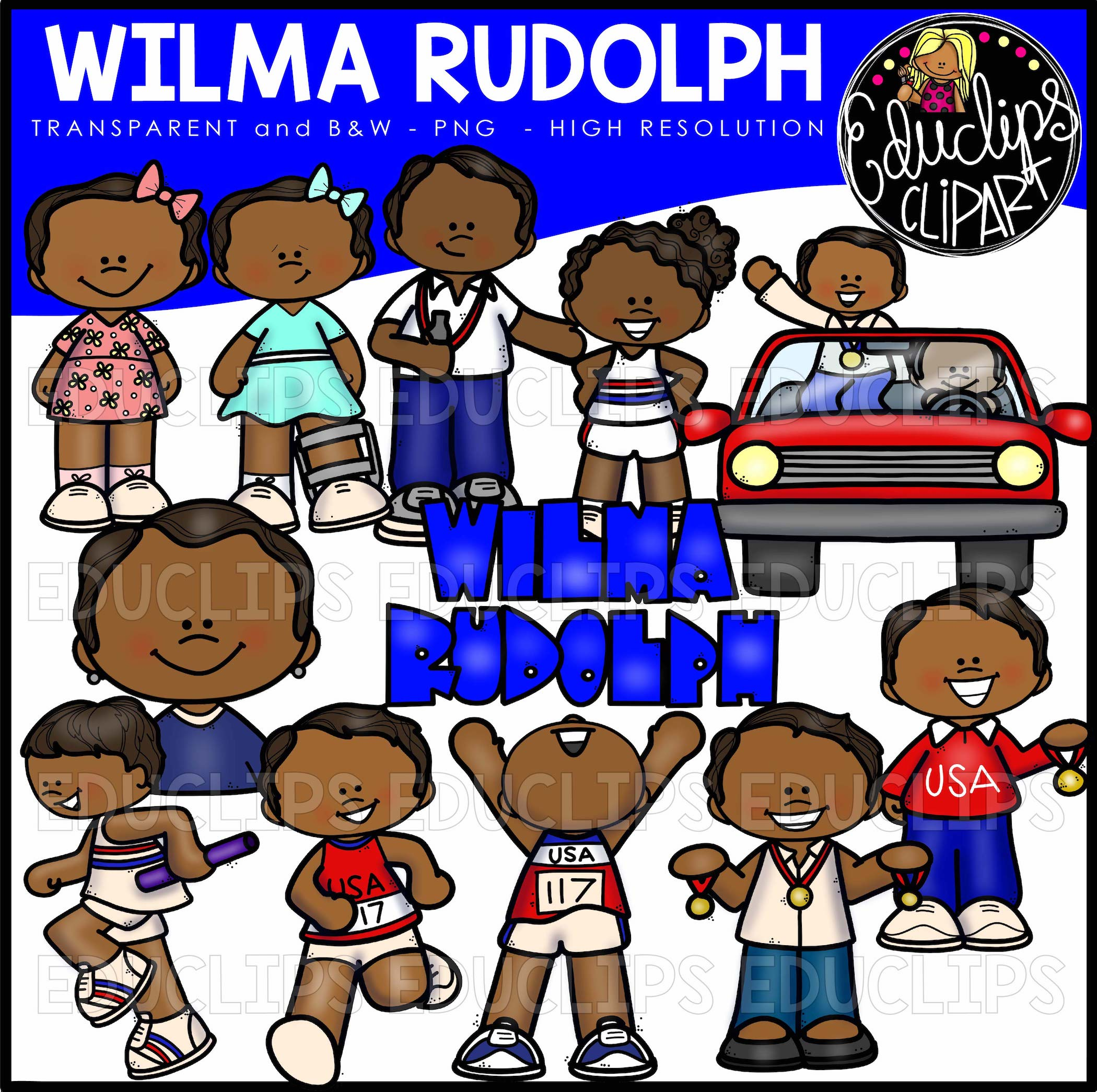 Wilma Rudolph Clip Art Bundle (Color and B&W).