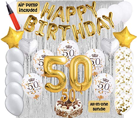 50th Birthday Party Balloons and Decoration Bundle.