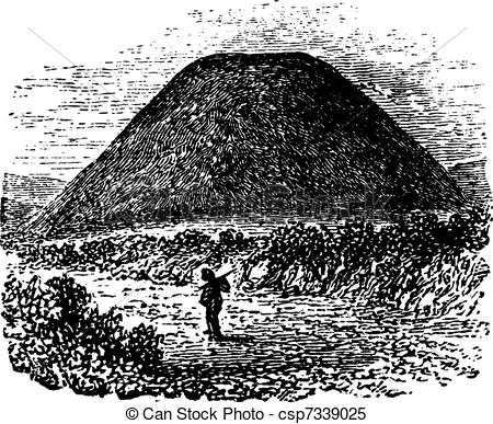 Clipart Vector of Tumulus at Silbury Hill, Wiltshire, England, UK.