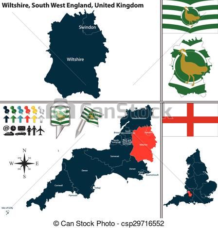 Clipart Vector of Wiltshire, South West England, UK.