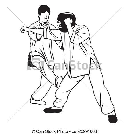 Clip Art Vector of Martial arts illustration.