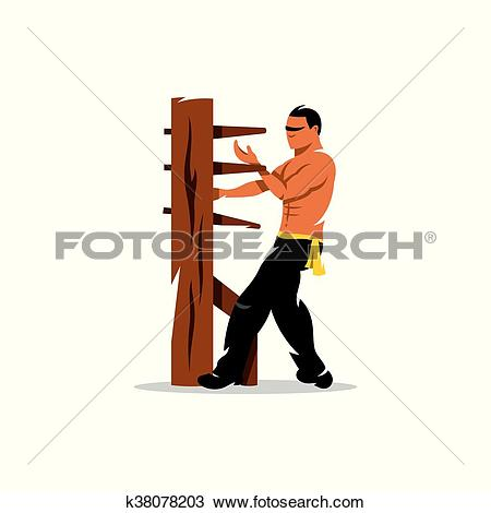 Clipart of Vector Wing Chun kung fu Man at a wooden dummy. Cartoon.