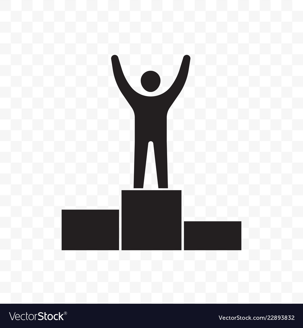 Man on pedestal success win line icon.
