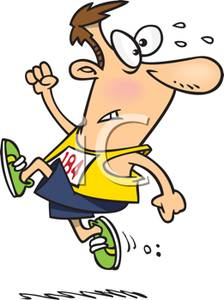 A Colorful Cartoon of a Runner Trying To Win a Race.