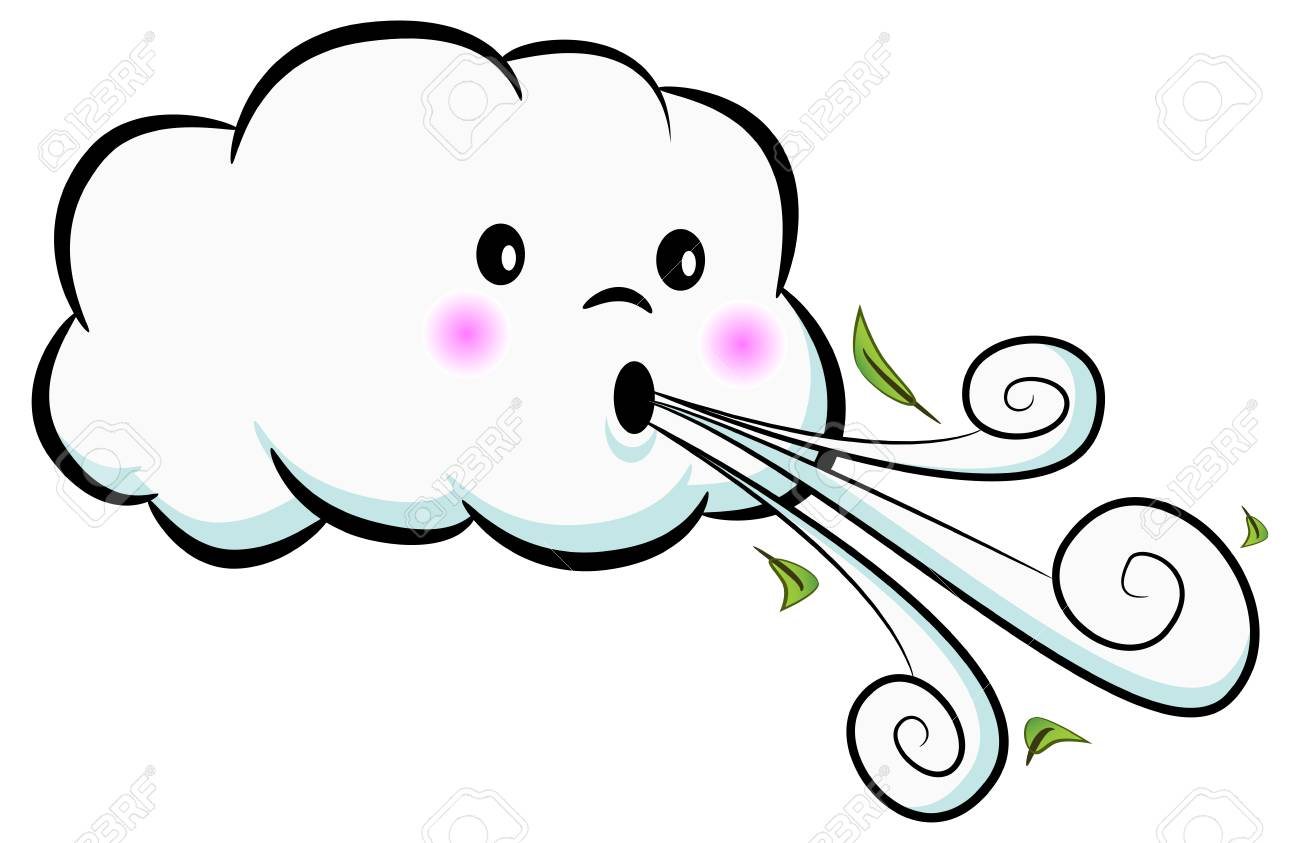 An image of a Cute Cloud Blowing Wind isolated on white. Vector...